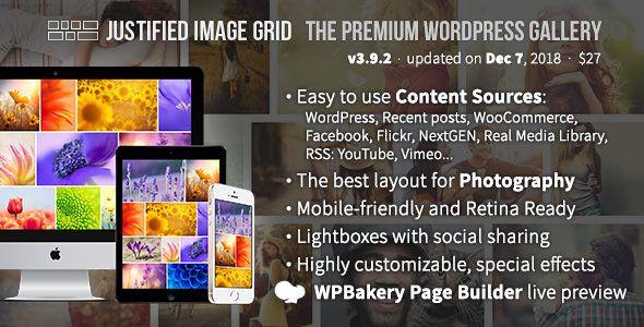 justified image grid - premium wordpress gallery nulled