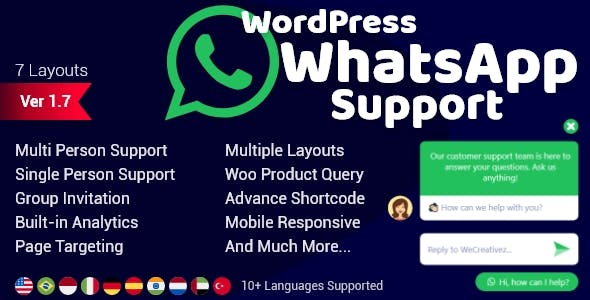 WordPress WhatsApp Support v1.9.6 Nulled