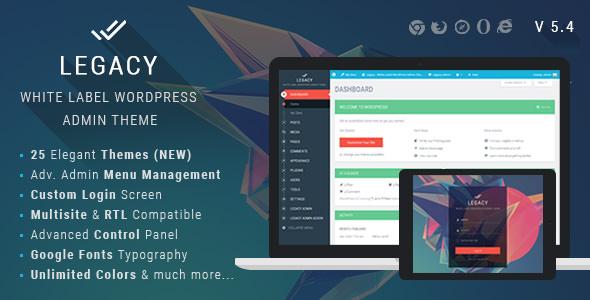 Legacy WordPress Admin Theme Free Download