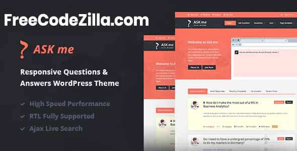 Ask Me - Responsive Questions & Answers WordPress Theme Free Download