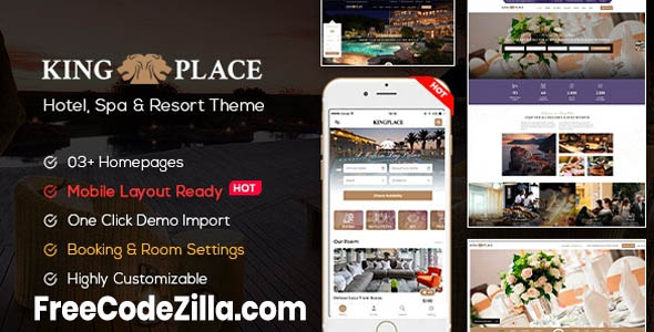 KingPlace v1.2.5 Nulled – Hotel Booking, Spa & Resort WordPress Theme