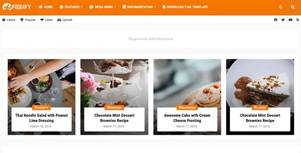 Foodify Elegant Food & Restaurant Blogger Template