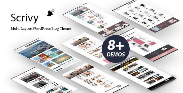 Scrivy - Multi-Layout WordPress Blog Theme Free Download